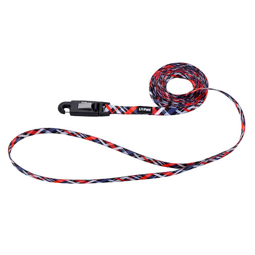 Lil Pals 6' Red and Grey Plaid Dog Leash