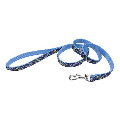"""1""""W Navy Blue Plaid 6' Dog Leash"""