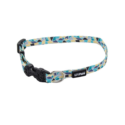 Lil Pals Teal Yellow Grey Stained Glass Dog Collar