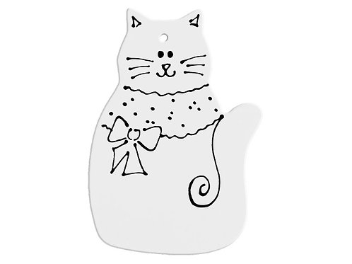 Hand Detailed Pretty Kitty Party Ornament