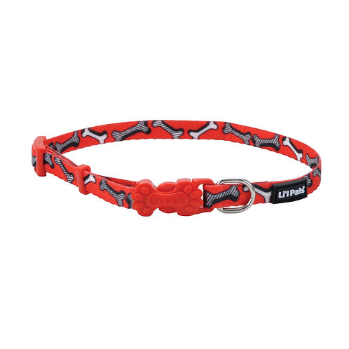 Lil Pals Red and White Bones Dog Collar