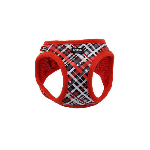 Lil Pals Red and Grey Plaid Dog Harness