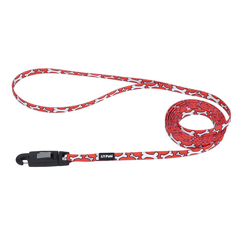 Lil Pals 6' Red and White Bones Dog Leash
