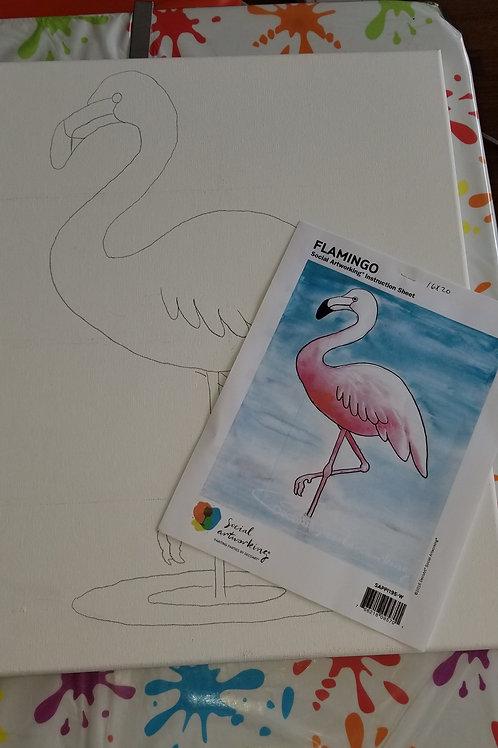 Flamingo 16x20 Canvas Kit To Go