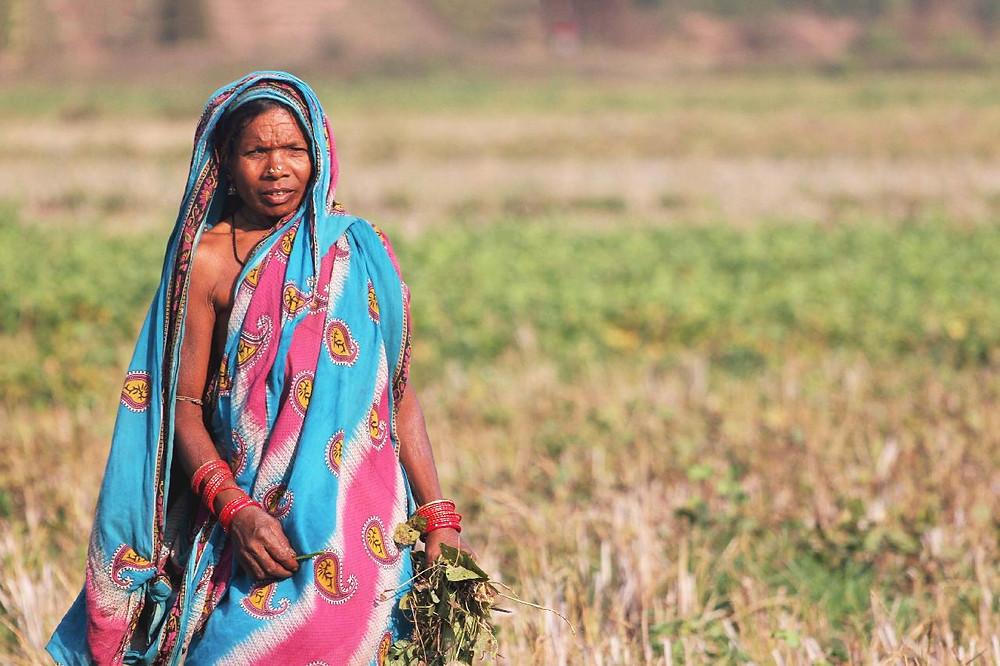 Intialainen nainen paikallisessa asussa