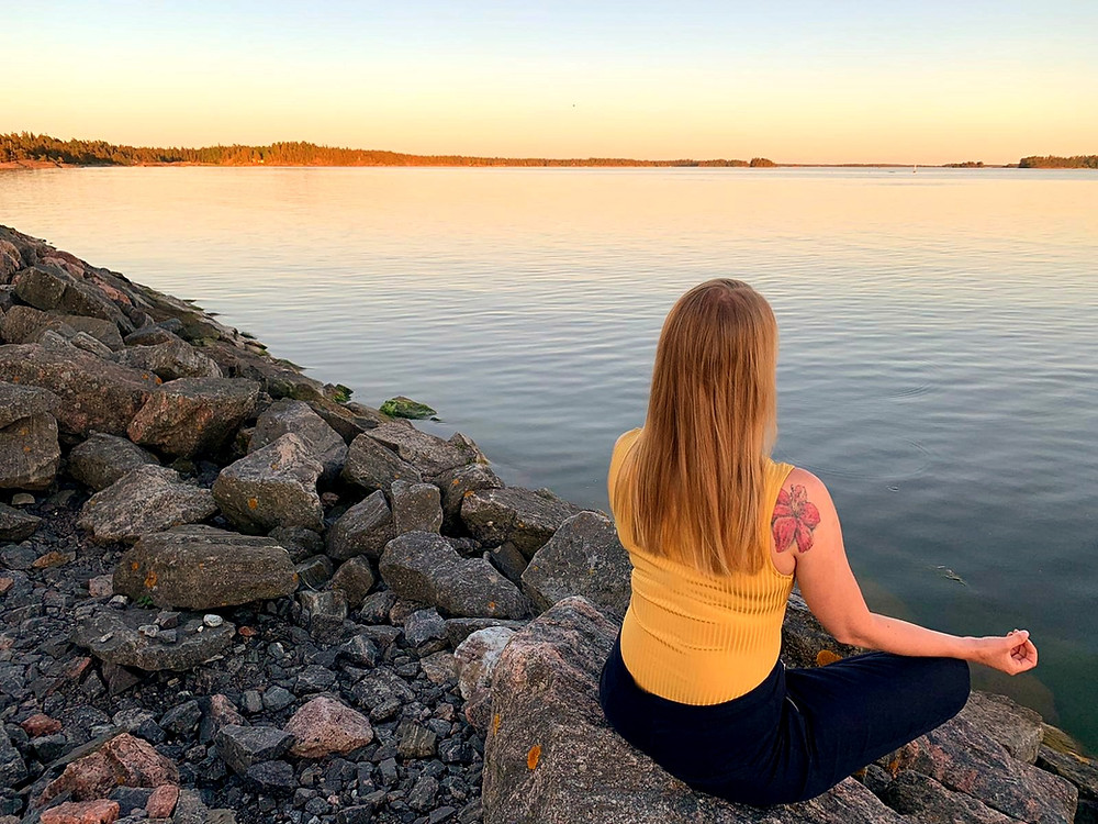 Tanja Saarinen meditating in Finland.