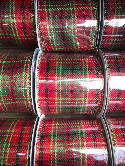 Gisela Graham Red Tartan Ribbon 63mm x 3m