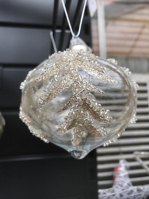 Clear Silver Glitter Drop Bauble