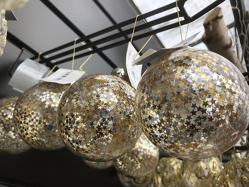 Gisela Graham Clear Bauble with Stars