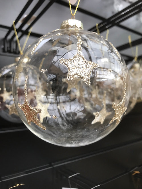 Clear Gold Glitter Star Bauble