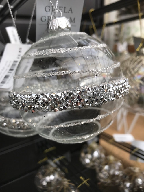 Gisela Graham Clear Silver Band Bauble