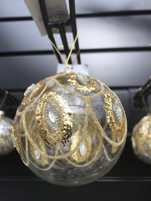 Gisela Graham Gold Glitter Swag Bauble