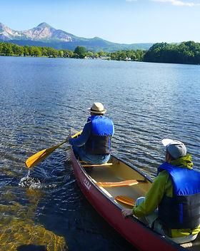 Canoeing lake side