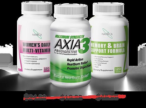 TERRIFIC TRIO 1: Axia3 ProDigestive + Women's Multi + Memory