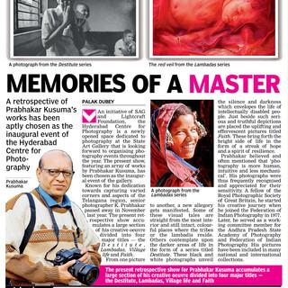 Deccan Chronicle - Prabhakar Kusuma Retrospective