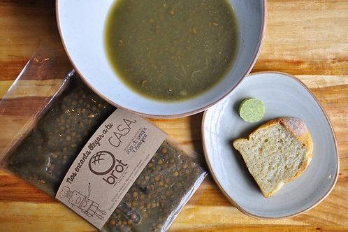 Sopa de Lentejas y Berenjena ahumada