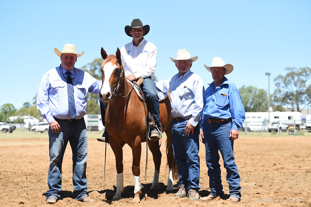 Darling Downs Stockhorse Society president, Jim Ryan, with Bill Carey, Ballymena, Goondiwindi, sitting on Tamarang Destiny's Facade, who was owned by Richard Bull, Tamarang, Tamworth, NSW, and bought by Kevin Southern, Secret Plains, St George.
