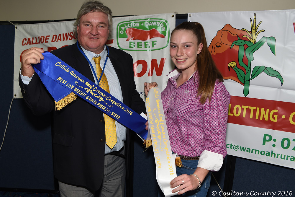 Geoff Maynard, 5 Star Senepol, Jambin, won the best live weight gain in feedlot and was delighted that his daughter Bonnie Maynard came third in the same class.