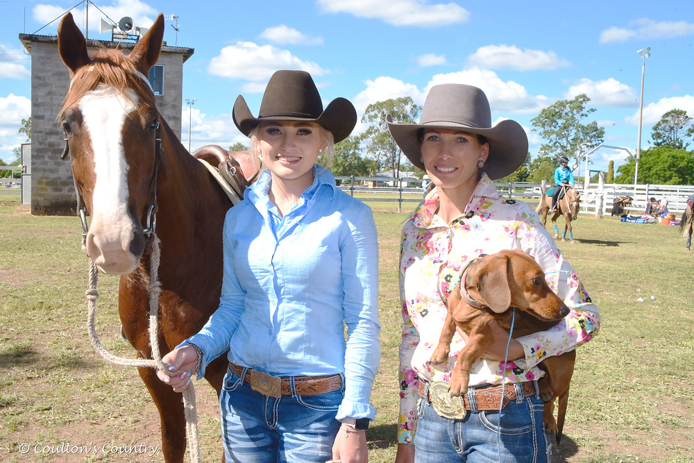 Georgie Stower, Toowoomba, with Brydie Hughes, Tansey, and her horse Tassa's Lethal Spin, and their little friend Pearl.