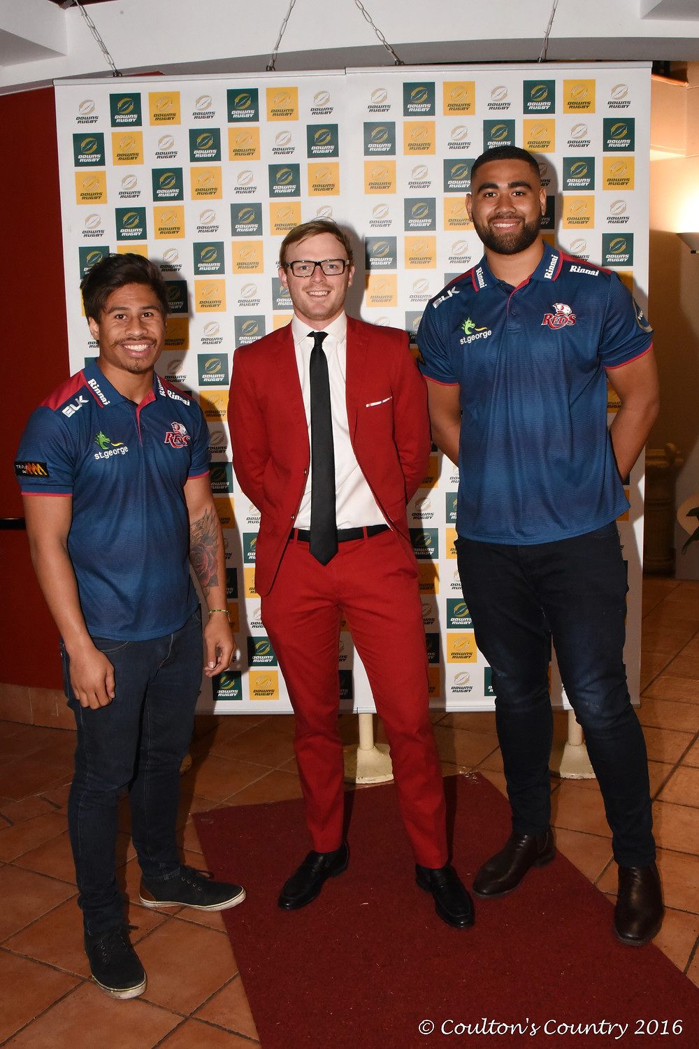 Qld Reds players Junior Laloifi and Lukhan Tui with Dan Birrell, Qld Reds.