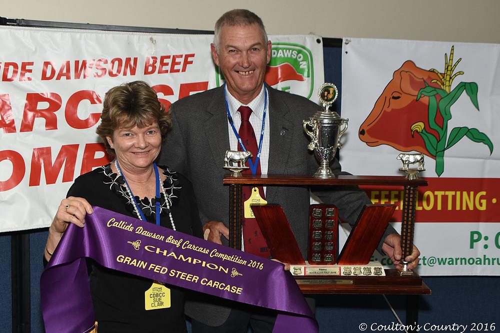 Denis and Sue Clair, Glen Erin, Goovigen, were presented the champion grain fed steer carcase.