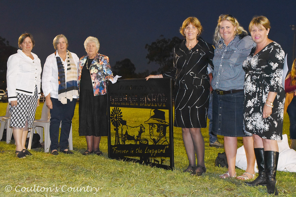 The Bishop family were moved by the show's acknowledgement of their late father and husband, Graham Bishop, a life member and former president of the Monto & District Show Society. Pictured with them is Monto & District Show society president Amanda Goody, Monto.