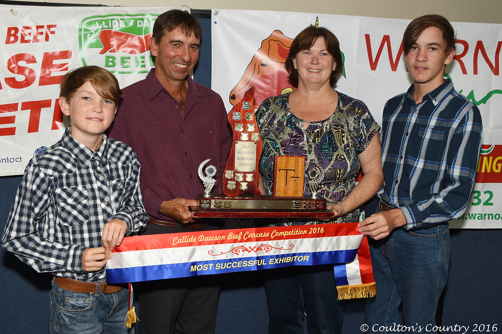 The Callide Dawson Carcase Competition's most successful exhibitor was awarded to Mike and Vicki Bradshaw, Fairhaven, Banana, and their two sons Fraser and Dustin.