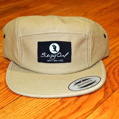 Khaki and Black Strap Back Hat