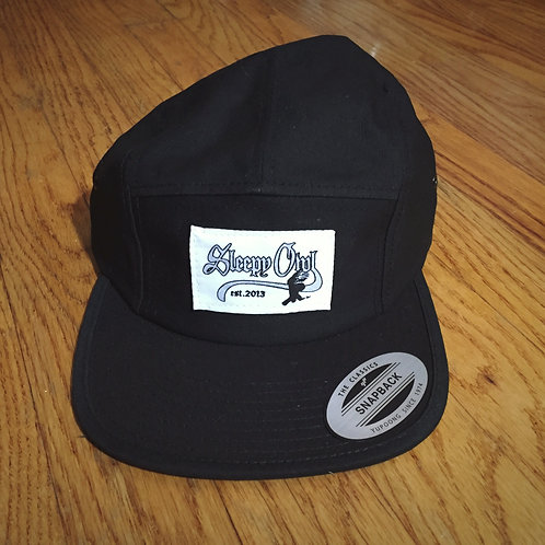 Silver Logo 5 Panel Black Hat