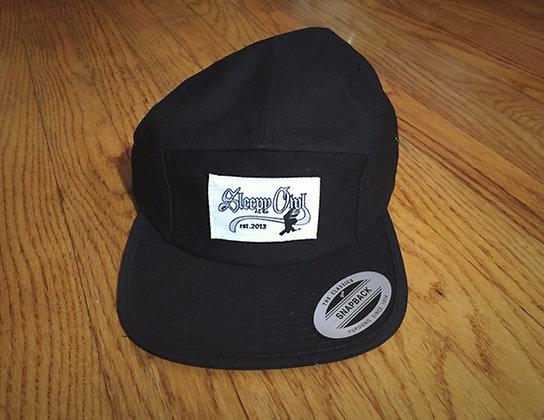 Silver Logo 5 Panel Black Hat