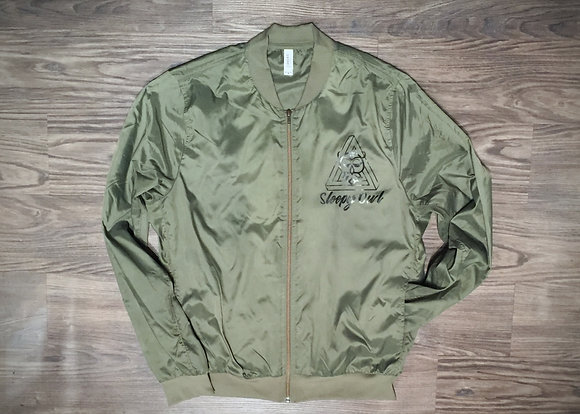 Sleepy Owl zip-front bomber jacket