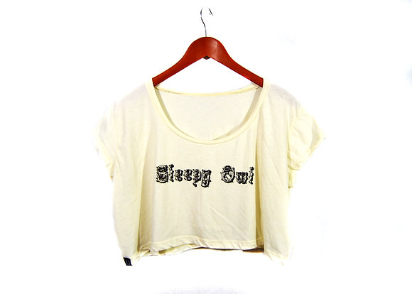 Sleepy Owl Women's Creme Crop Top
