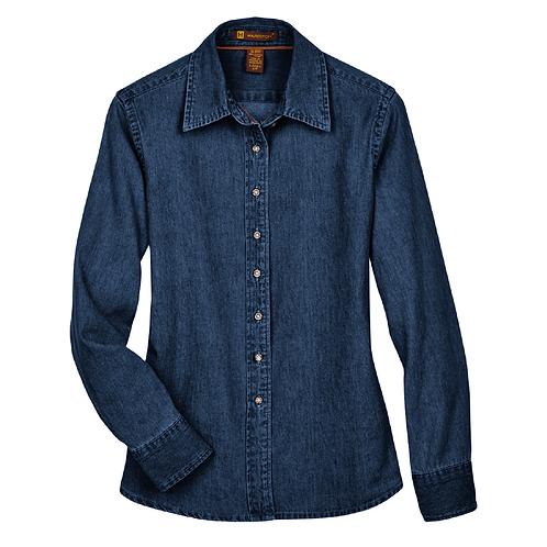 Harriton Ladies' Long-Sleeve Denim Shirt