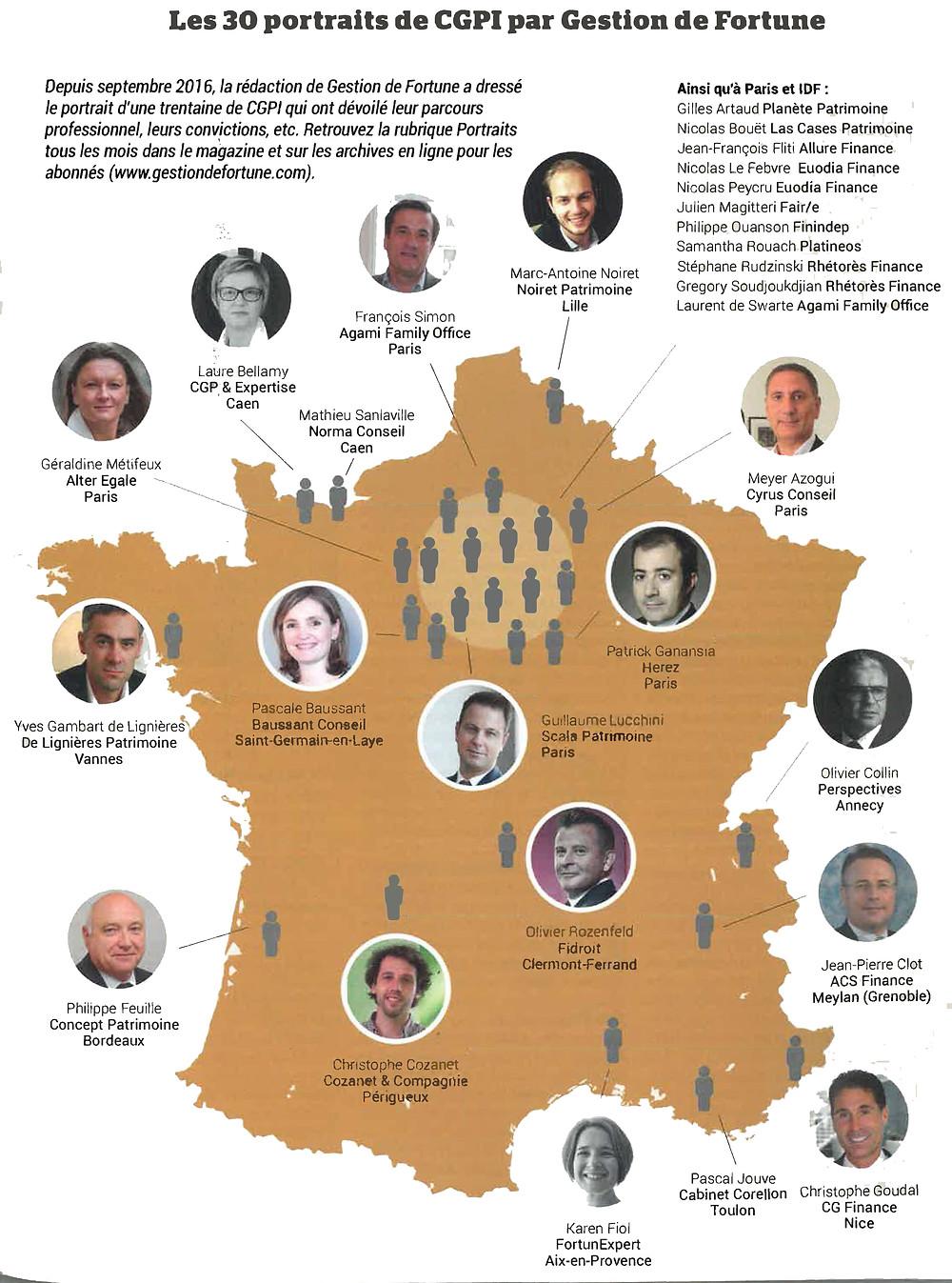 Carte des 30 CGPI en France