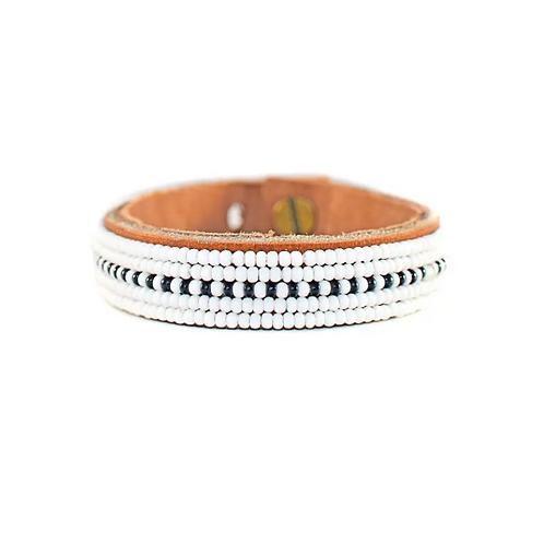 Caroline Black & White Dashes Beaded Cuff Bracelet •Small