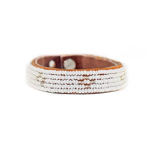Hadley Silver Diamond Beaded Cuff Bracelet •Small