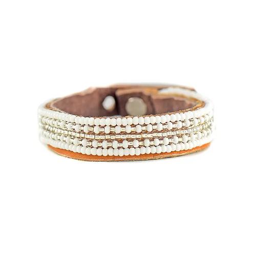 McKenna Silver Stripe Beaded Cuff Bracelet •Small