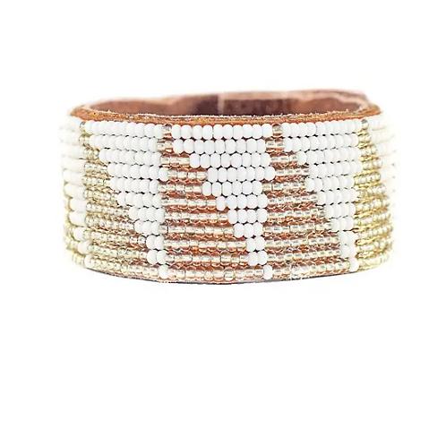 Karina Silver Triangle Beaded Cuff Bracelet •Medium