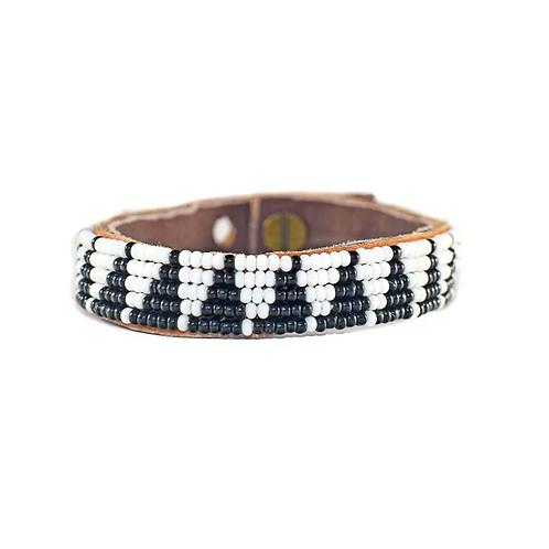 Mila Black & White Triangle Beaded Cuff Bracelet •Small