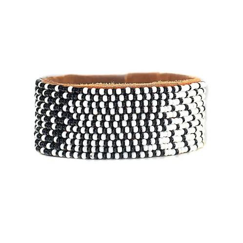 Anna Black & White Ombre Cuff Bracelet •Medium
