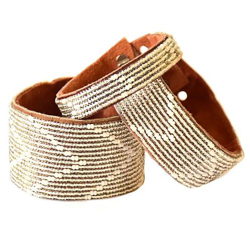 Victoria Silver Chevron Beaded Cuff Bracelet •Large and Medium