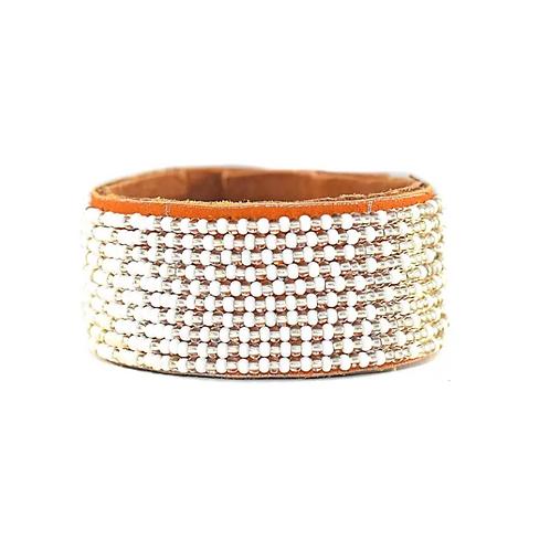 Allison Silver Ombre Beaded Cuff Bracelet •Medium