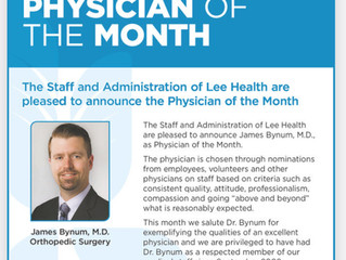 In the News! - Dr. Bynum Honored as Physician of the Month