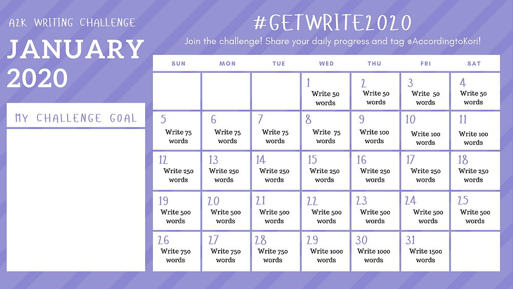 31-day January 2020 writing challenge