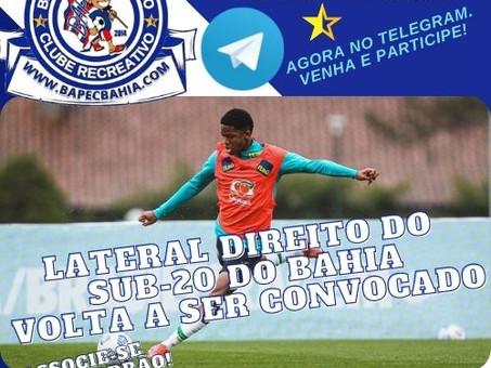 Mais uma Vez: Lateral do sub-20 é convocado novamente pela Seleção Brasileira