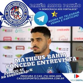 """""""Mesmo Pensamento"""": Matheus Bahia fala sobre partida contra Chapecoense e fase defensiva da equipe"""