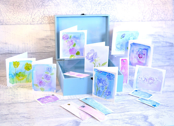 Hydrangea Watercolour Stationery Box