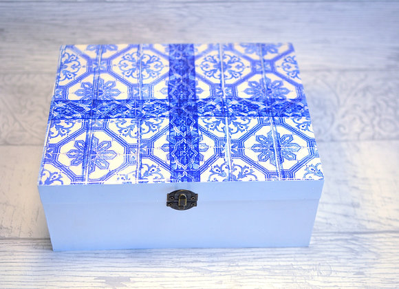 Blue Tile Stationery Box - Box Only