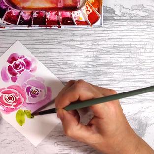 Three Roses Painting, Stylised