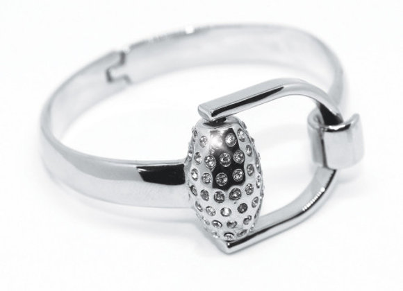 SNAFFLES BIT DIAMANTE BANGLE - SILVER